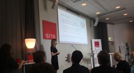 Forskaren Johanna Rickne berättar om studien om kvotering. Foto: Ingenjören